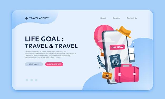 Modelo de site de agência de viagens da página de destino