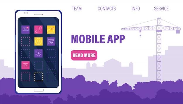 Modelo de site de aplicativo móvel com telefone inteligente cheio de ícones.