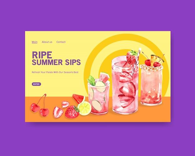 Modelo de site de bebida de verão