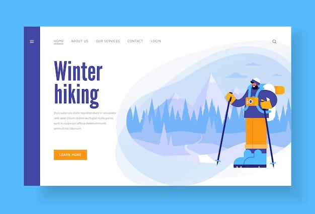 Modelo de site de caminhada de inverno