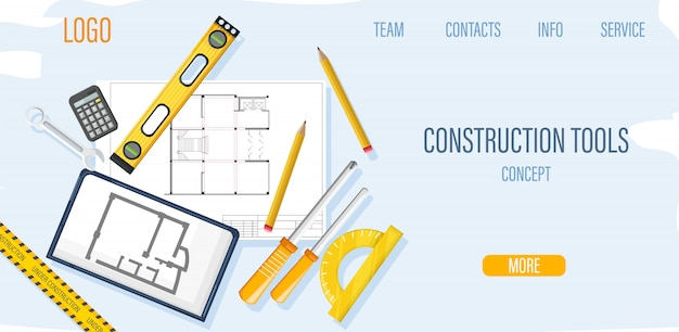Modelo de site de construção com ferramentas de arquiteto e blueprint