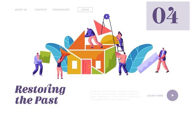 Modelo de site de construção home team builder. homem e mulher carregam material de peça para construção. pessoas em processo de instalação casa de telhado para site ou página da web ilustração em vetor plana dos desenhos animados
