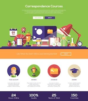 Modelo de site de educação de fontes de correspondência de e-learning