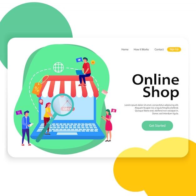 Modelo de site de ilustração de página de aterrissagem de loja on-line