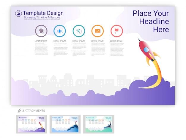 Modelo de site de infográfico ou página de destino para o design da página da web