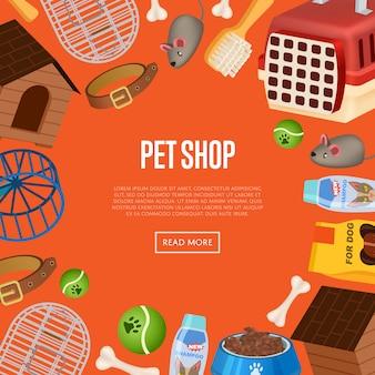 Modelo de site de loja de animais em estilo cartoon