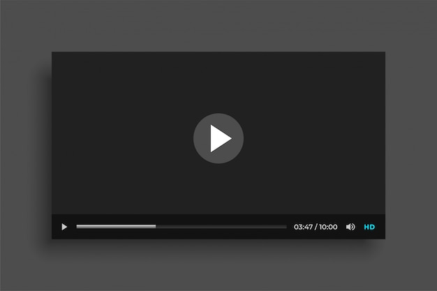 Modelo de site de media player de vídeo preto liso