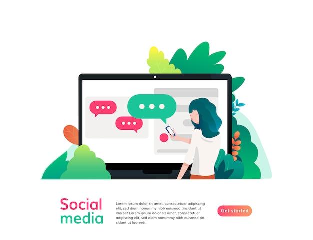 Modelo de site de mídia social, ilustração em vetor design plano, para design gráfico e web