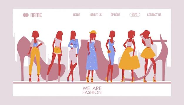 Modelo de site de moda, página de destino