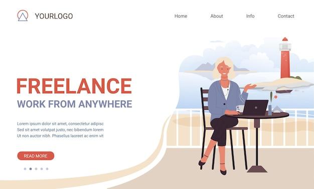 Modelo de site de motivação de slogan de trabalho freelance de todos os lugares com mulher freelancer