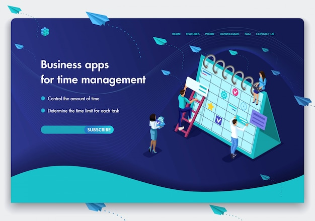 Modelo de site de negócios. conceito isométrico do trabalho das pessoas em aplicativos de negócios para gerenciamento de tempo. fácil de editar e personalizar