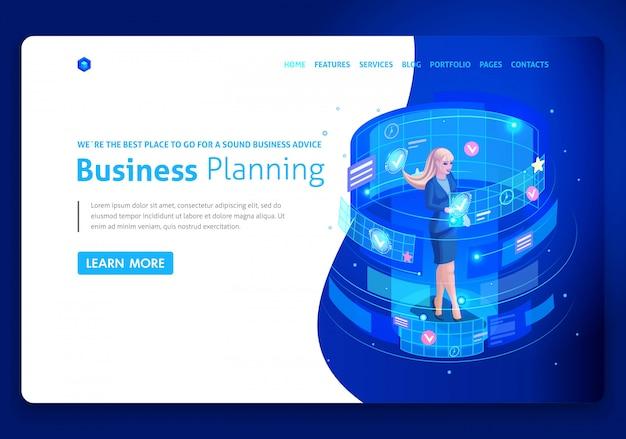 Modelo de site de negócios. empresários de conceito isométrico trabalham, realidade aumentada, gestão do tempo, planejamento de negócios. fácil de editar e personalizar, uiux