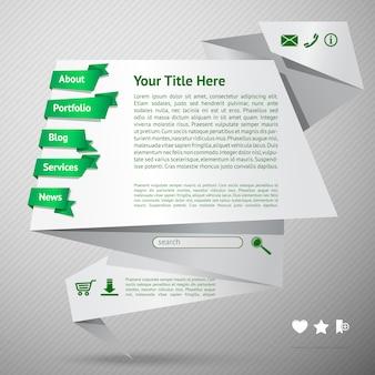 Modelo de site de origami. página de destino