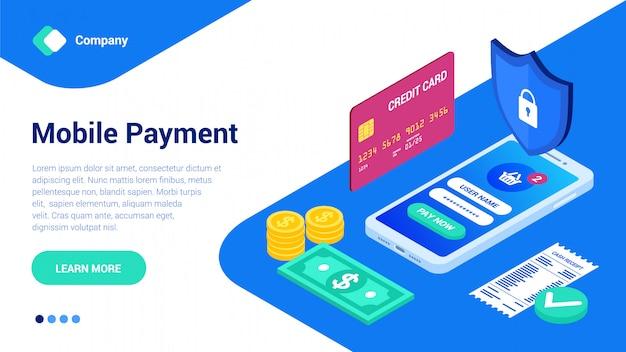 Modelo de site de pagamento móvel isométrico plano