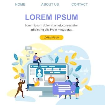 Modelo de site de página de aterrissagem com comunicação de internet de pessoas, mídia social