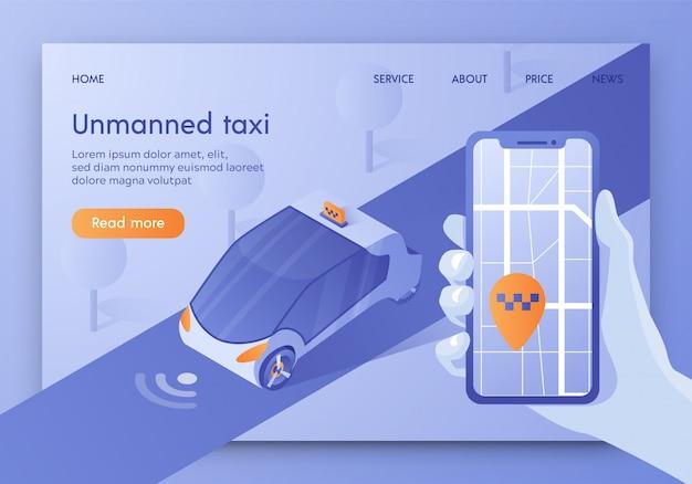Modelo de site de página de destino com táxi não tripulado, transporte autônomo, carro