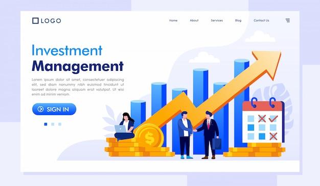 Modelo de site de página de destino de gerenciamento de investimentos