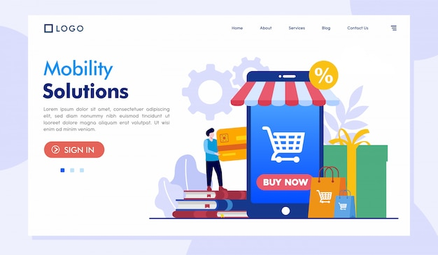 Modelo de site de página de destino de soluções de mobilidade