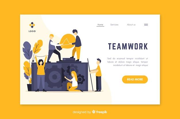 Modelo de site de página de destino de trabalho em equipe