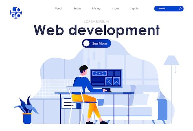 Modelo de site de página de destino plana de desenvolvimento web