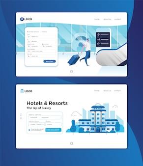Modelo de site de reservas on-line da página de destino