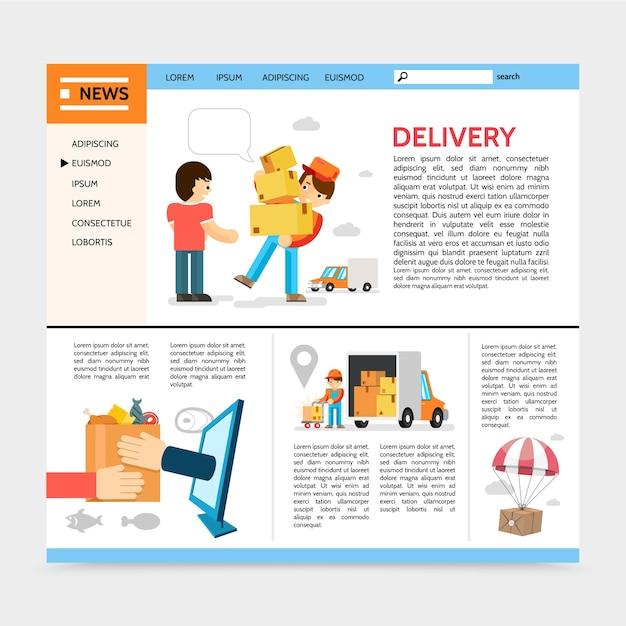 Modelo de site de serviço de entrega plana