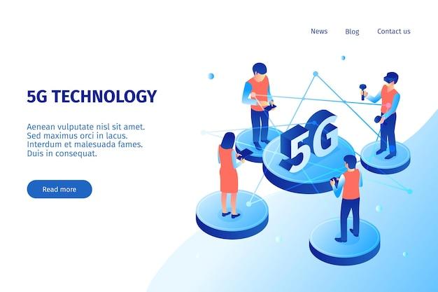 Modelo de site de tecnologia de internet 5g isométrico
