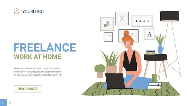 Modelo de site de trabalho remoto freelance em casa