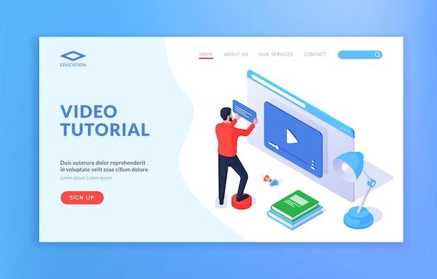 Modelo de site de tutorial em vídeo