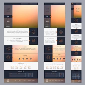 Modelo de site de uma página com plano de fundo desfocado versão móvel do tablet da área de trabalho