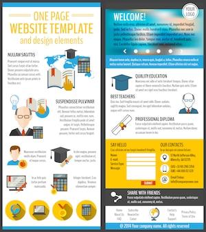 Modelo de site de uma página de educação e elementos de design
