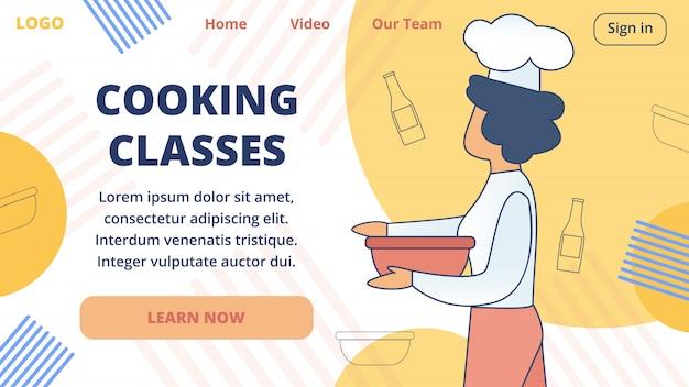 Modelo de site de vetor de aulas de culinária on-line