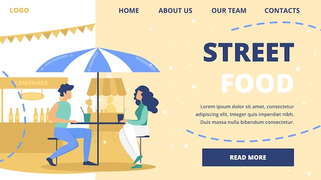 Modelo de site de vetor de restaurante de comida de rua