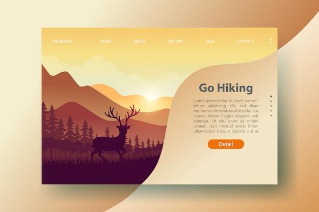 Modelo de site de viagens e turismo para aventura caminhadas webdesign.