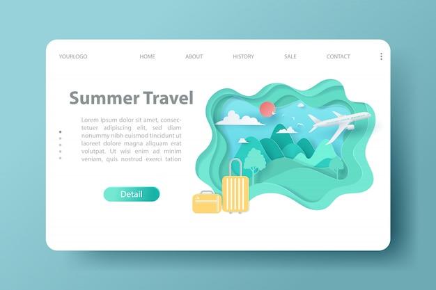 Modelo de site de viagens e turismo para o verão webdesign.