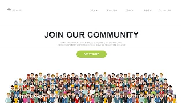 Modelo de site e página de destino para se juntar à nossa comunidade