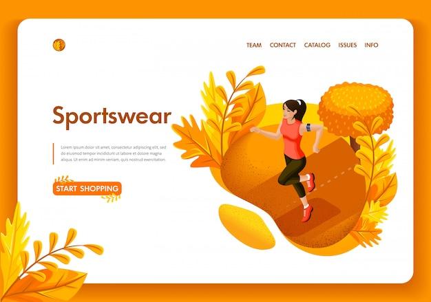 Modelo de site. garota de outono isométrica conceito correndo no parque. loja de roupas esportivas e equipamentos. fácil de editar e personalizar
