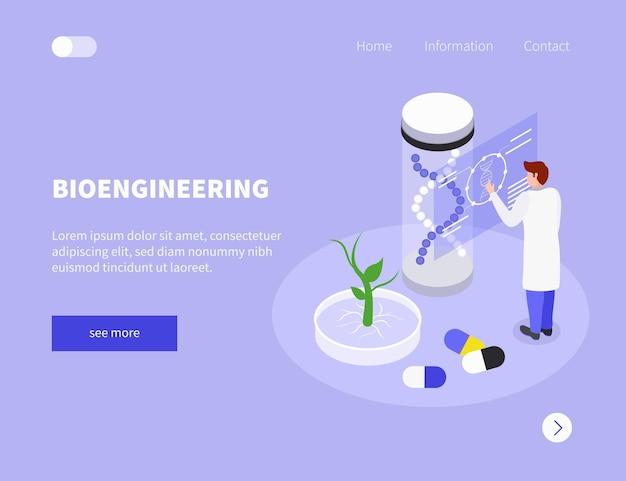 Modelo de site gmo com dna e medicamentos de cientista de ilustração isométrica