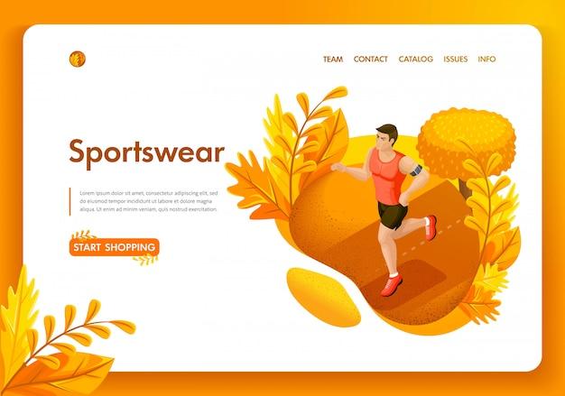 Modelo de site. homem de outono isométrico conceito correndo no parque. loja de roupas esportivas e equipamentos. fácil de editar e personalizar