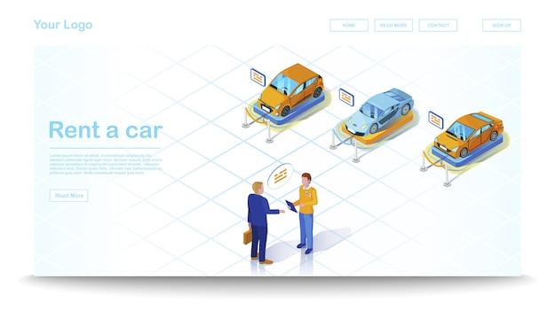 Modelo de site isométrica de concessionária de carros