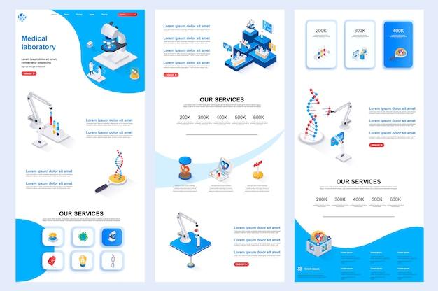 Modelo de site isométrico de laboratório médico, página de destino, conteúdo intermediário e rodapé