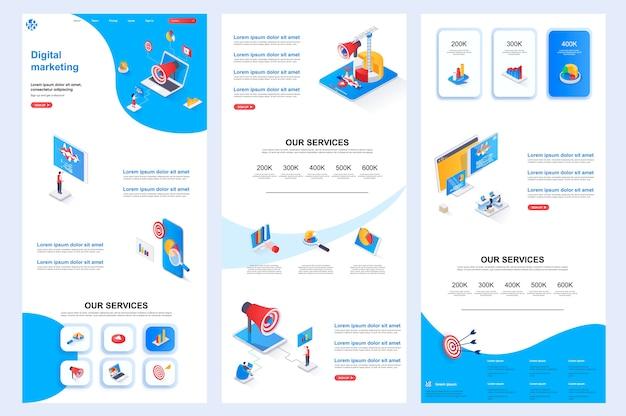 Modelo de site isométrico de marketing digital, conteúdo do meio da página de destino e rodapé