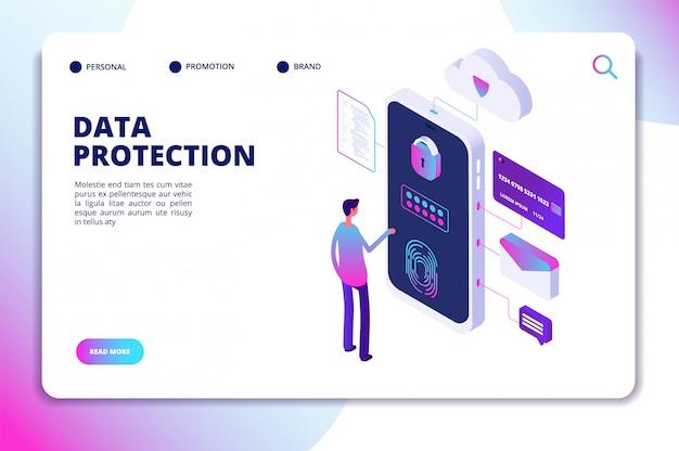 Modelo de site isométrico de proteção de dados