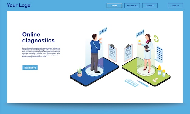 Modelo de site isométrico do serviço de diagnóstico on-line. traumatologista prescrever medicação, analgésicos para paciente com braço quebrado. 3d médico, hologramas de cliente na tela do smartphone. sistema de saúde eletrônico, página de destino