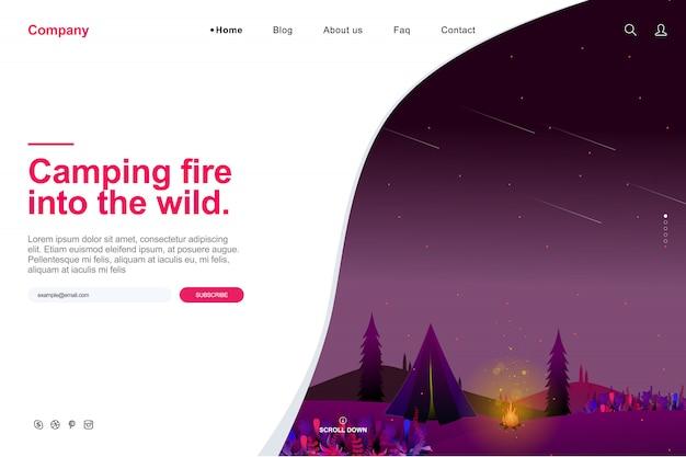 Modelo de site no conceito de acampamento de verão