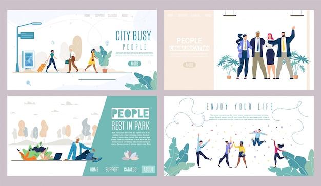 Modelo de site ou conjunto de páginas de destino. pessoas de sucesso, vida na cidade