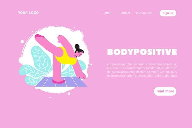 Modelo de site ou página de destino com corpo positivo