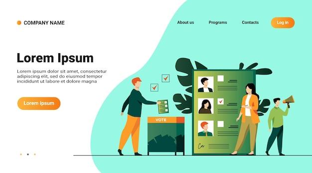 Modelo de site, página de destino com ilustração de campanha eleitoral ou referendo