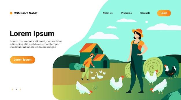 Modelo de site, página de destino com ilustração de fazendeiros trabalhando em ilustração vetorial plana isolada de fazenda de galinhas