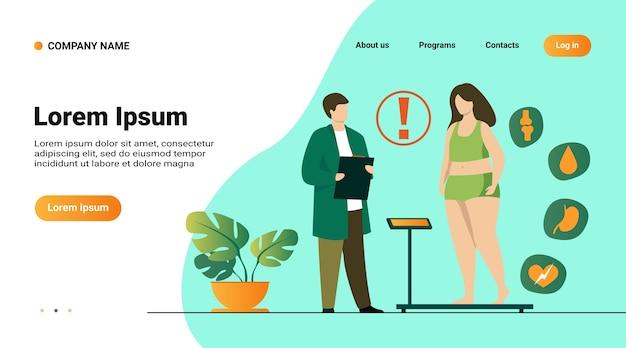 Modelo de site, página de destino com ilustração de paciente gordo visitando médico
